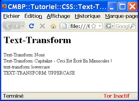 tutoriel cmbp css text-transform