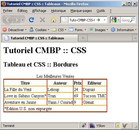 Sagexa formation et d veloppement web c s s styler les for Table th margin css