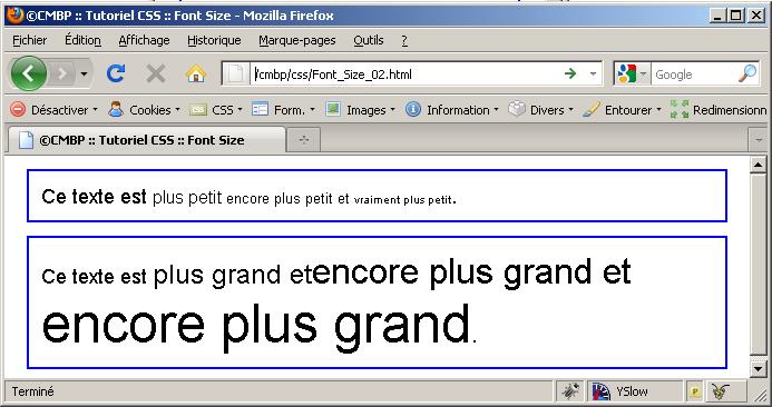 cmbp tutoriel css font size large small